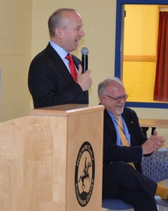 Governor Markell addresses over 500 kindergarten students as part of an Arbor Day celebration at McIlvaine as Caesar Rodney School District Superintendent Kevin Fitzgerald looks on.
