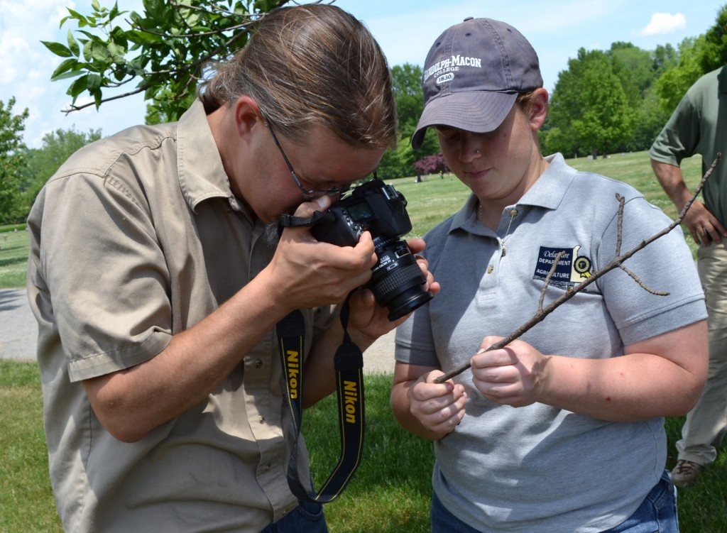 Jimmy Kroon and Jillian Dixon examine a twig sample2