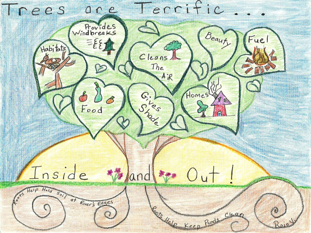 Rain Vasey, a Grade 4 student at Watergirl Farm Academy in Lincoln, is the statewide winner of the annual Arbor Day Poster Contest.